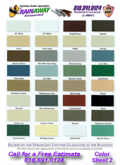 Rain Away Gutters Color Chart